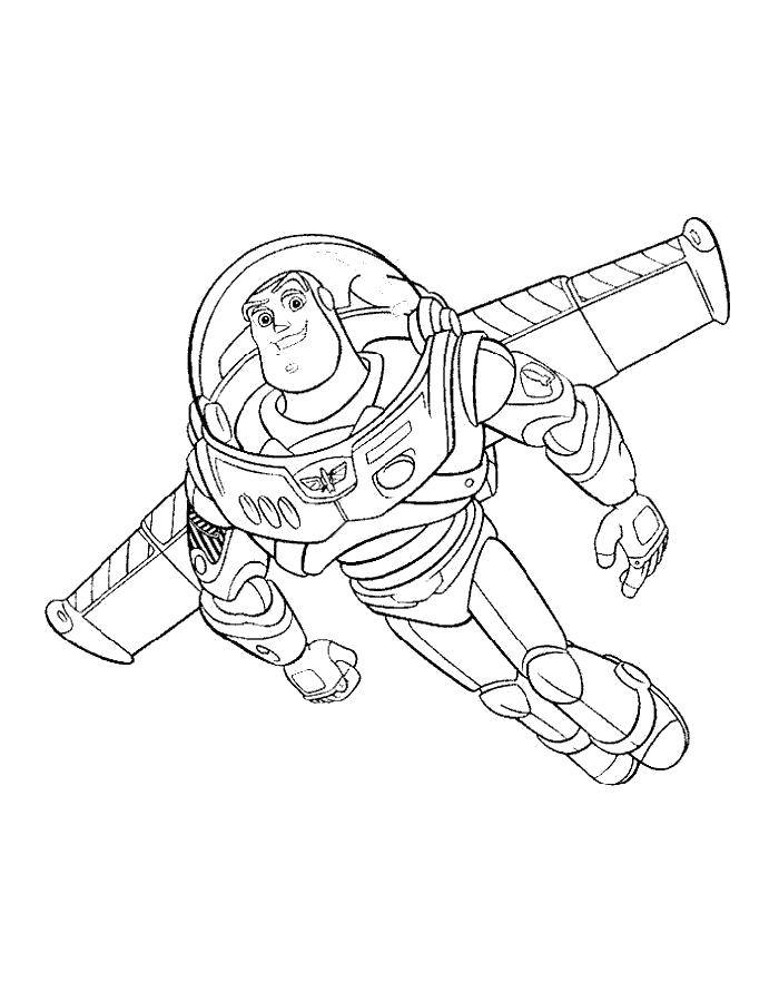 Раскраска Базз лайтер Скачать ,Персонаж из мультфильма, История игрушек ,.  Распечатать