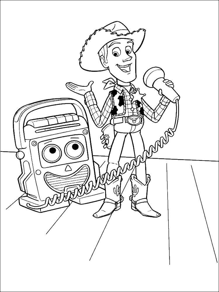 Раскраска Шериф вуди. Скачать Персонаж из мультфильма, История игрушек .  Распечатать ,история игрушек,