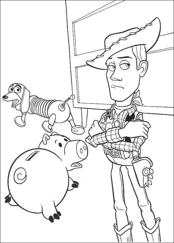 Название: Раскраска Вуди и хэмм. Категория: история игрушек. Теги: Вуди, игрушки.