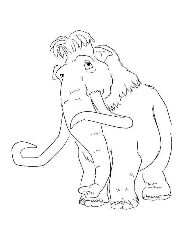 Раскраска Мамонт мэнни Скачать Ледниковый период, мультфильм.  Распечатать ,ледниковый период,