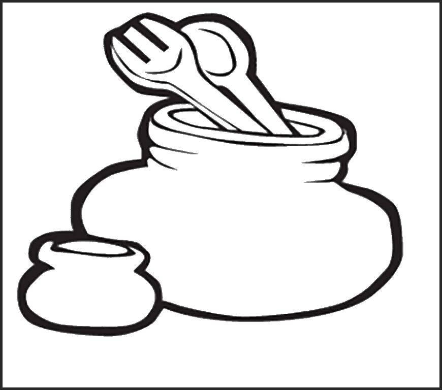 Раскраска Посуда с столовыми предметами Скачать ложка, вилка.  Распечатать ,посуда,