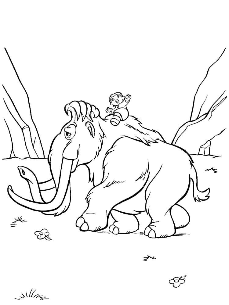 Раскраска Ребёнок на мэнни Скачать Ледниковый период, мультфильм.  Распечатать ,ледниковый период,