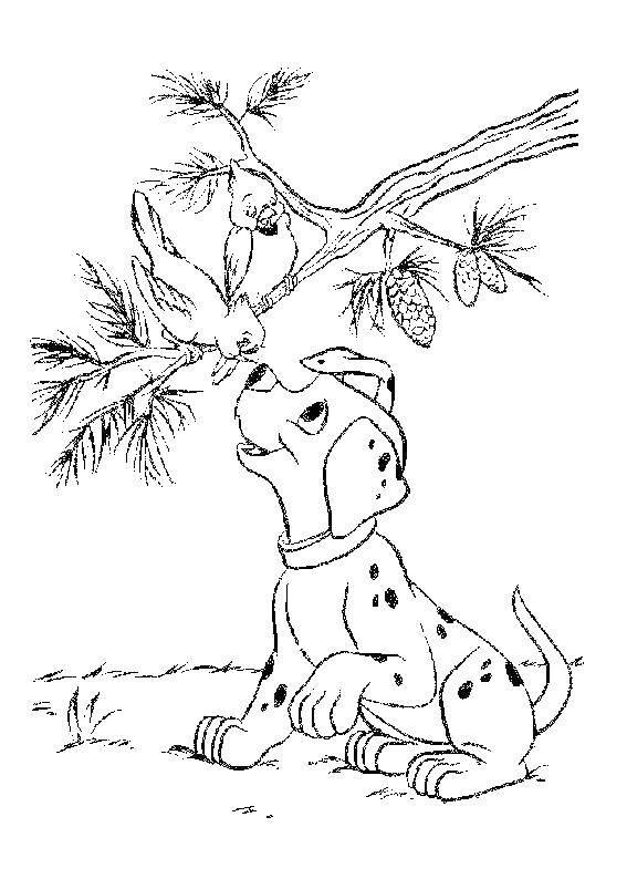 Раскраска 101 далматинец Скачать поросенок, волк.  Распечатать ,Животные,