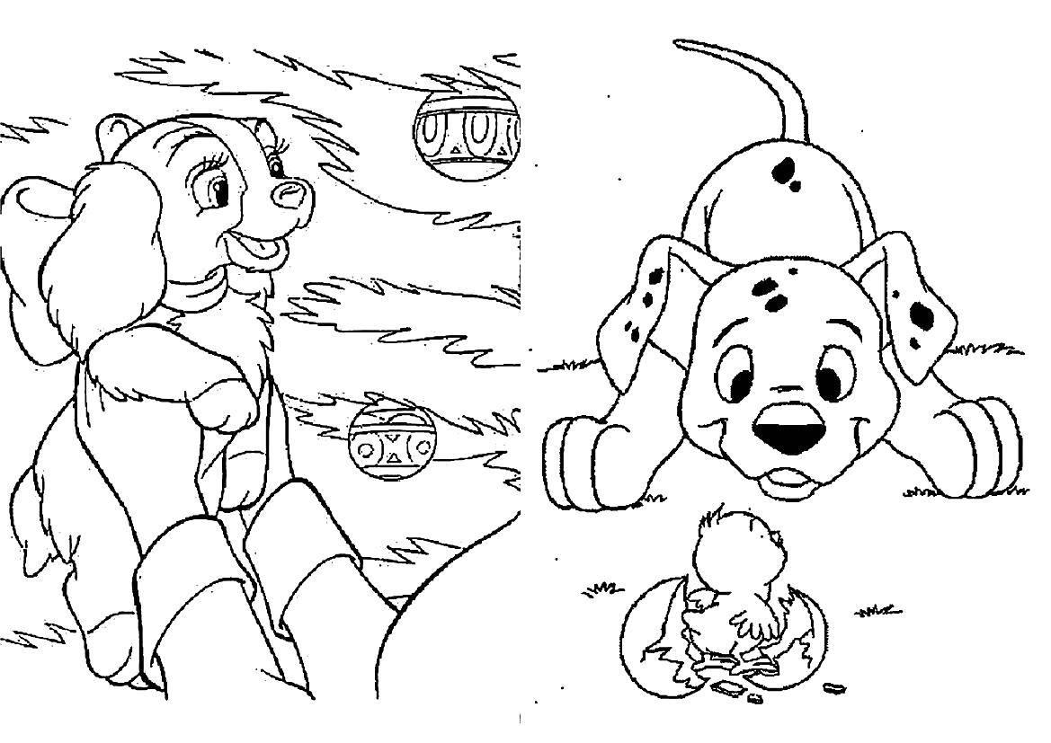 Раскраска Далматинцы Скачать ,101 далматинец, Дисней, мультфильм,.  Распечатать