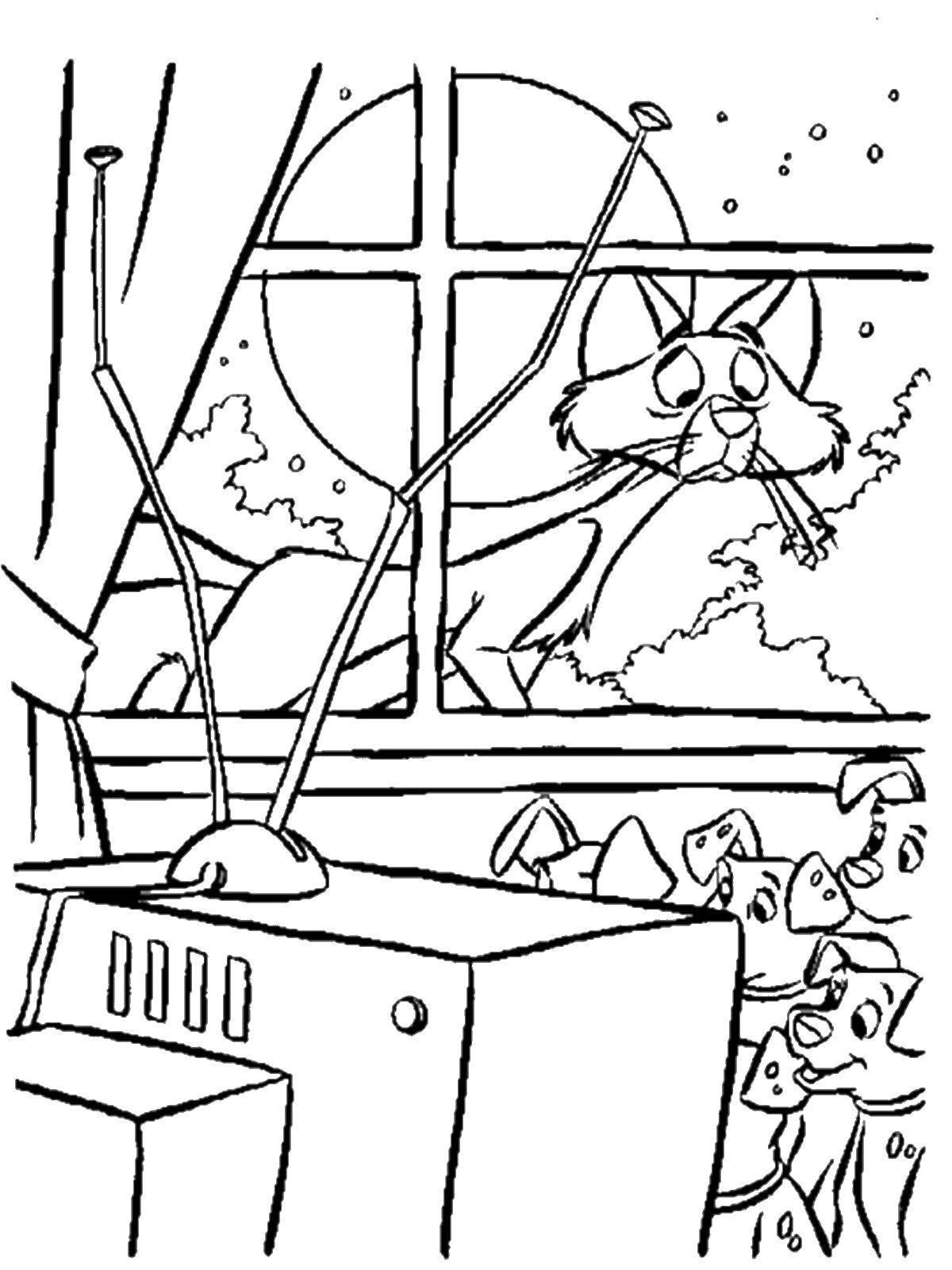 Раскраска Кот наблюдает за далматинцами Скачать 101 далматинец, Дисней, мультфильм.  Распечатать ,101 далматинец,