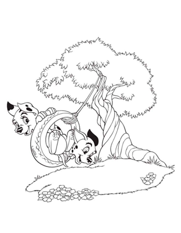 Раскраска 101 далматинец Скачать коты, котята, кошки.  Распечатать ,Коты и котята,