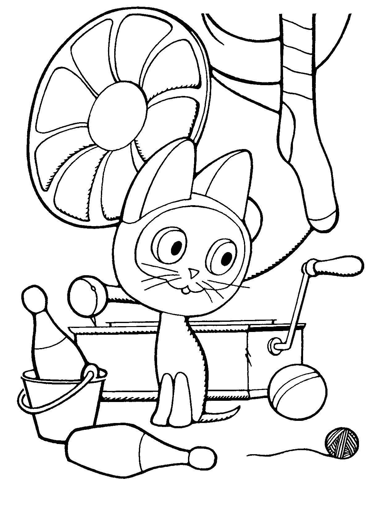Раскраска Котенок гав на чердоке Скачать ,котенок гав,.  Распечатать