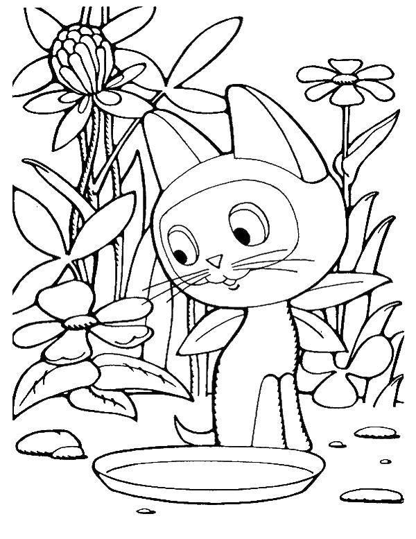 Раскраска Котенок гав с пустой миской Скачать ,котенок гав,.  Распечатать