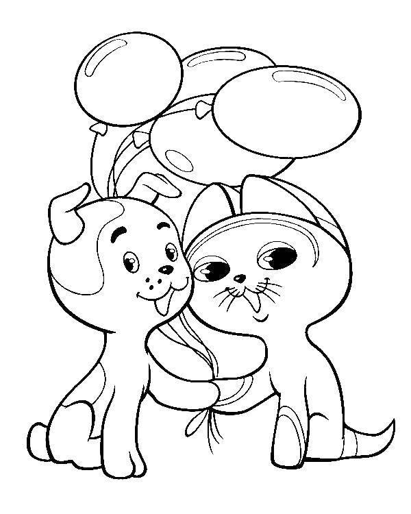 Раскраска котенок гав Скачать .  Распечатать