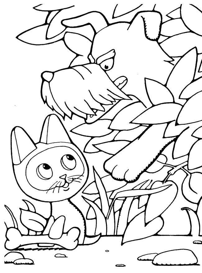 Раскраска котенок гав Скачать череп, узоры, цветы.  Распечатать ,Череп,