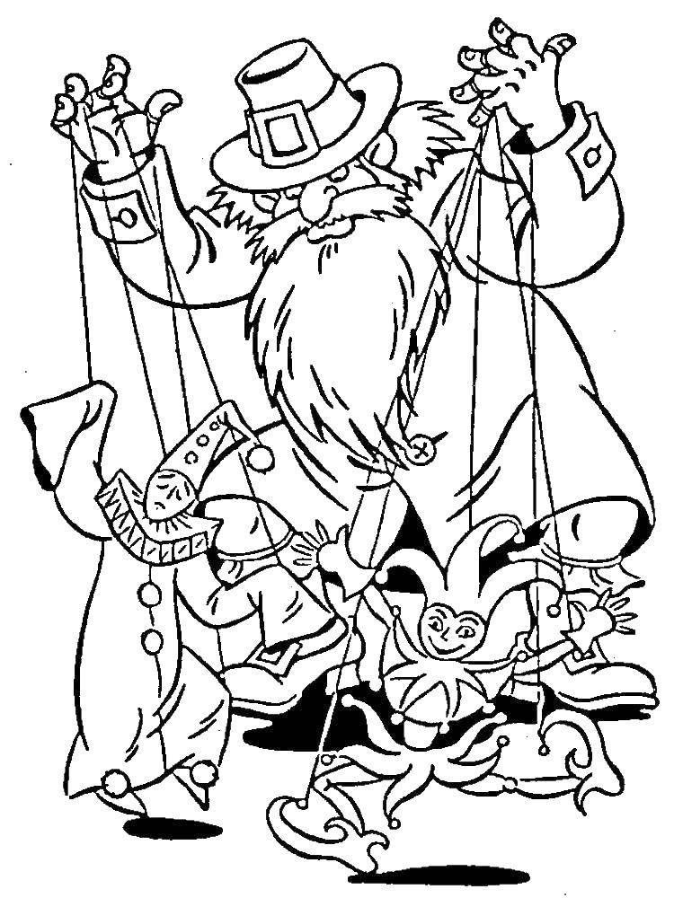 Раскраска Карабас барабас Скачать Буратино, Золотой Ключик, мультфильм.  Распечатать ,золотой ключик,