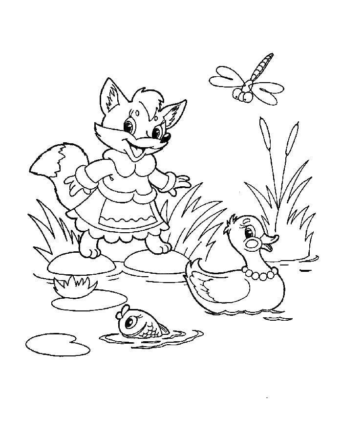 Раскраска Лиса на пруду с утками Скачать Лиса, утки.  Распечатать ,тайна третьей планеты,