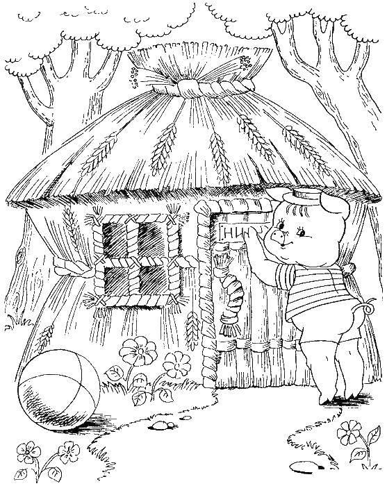Раскраска Соломенный домик ниф нифа Скачать Сказки, Три поросёнка .  Распечатать ,три поросенка,