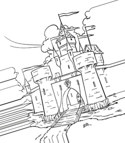 Раскраска Средневековый замок Скачать Замок.  Распечатать ,замки,