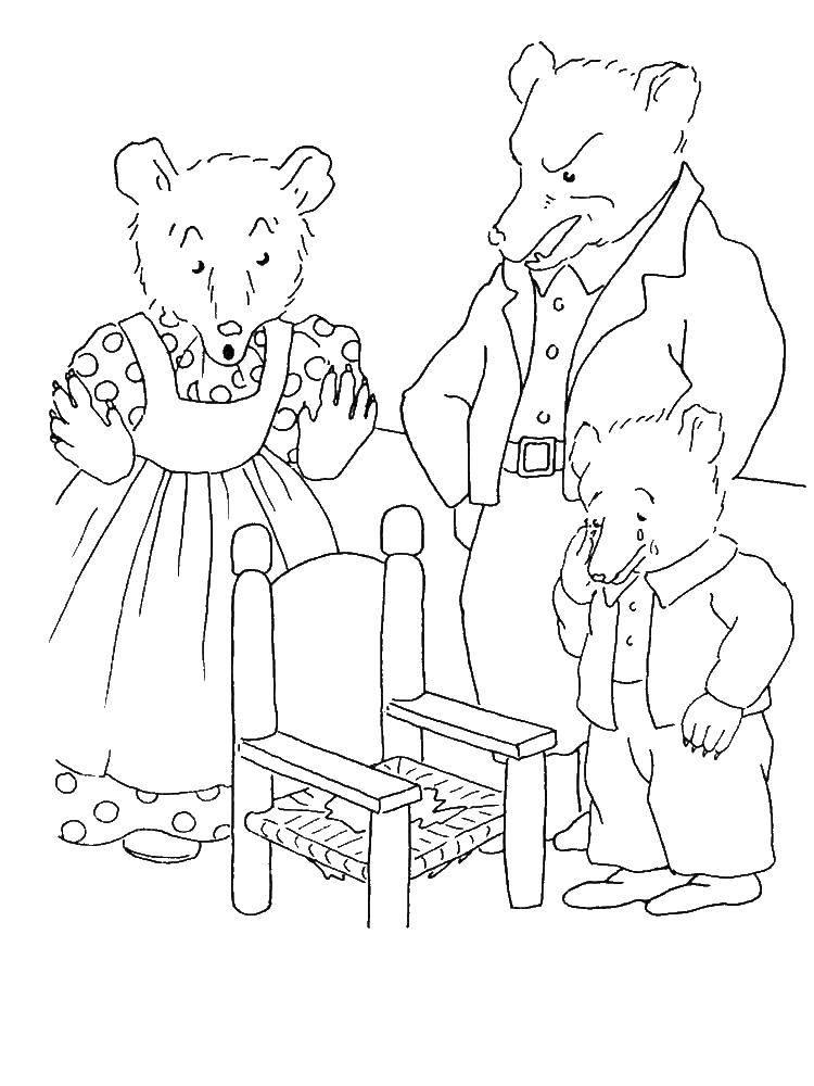 Раскраска три медведя Скачать ,Том, Джерри,.  Распечатать