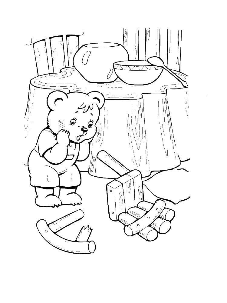 Раскраска три медведя Скачать надпись, музыка.  Распечатать ,Музыка,