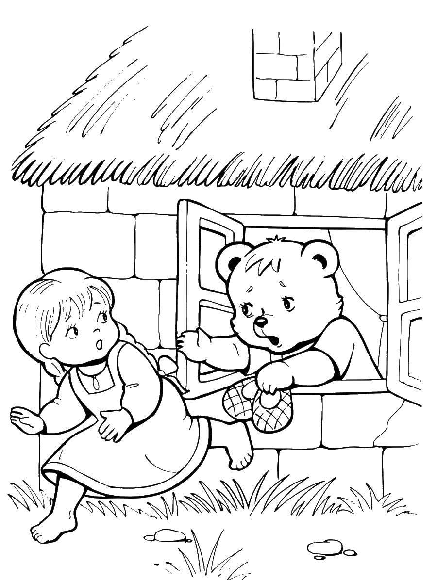 Название: Раскраска Девочка убежала от медведя. Категория: три медведя. Теги: три медведя.