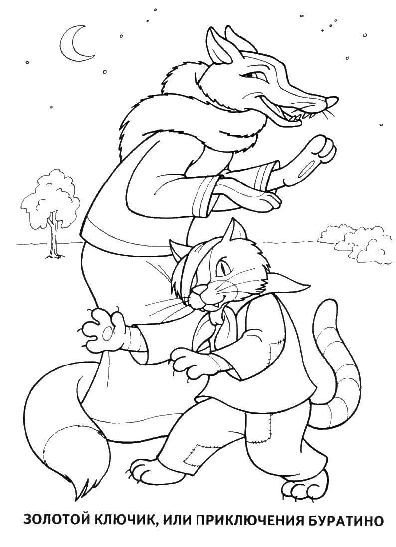 Как нарисовать лису Алису и кота Базилио из Буратино поэтапно | 1097x794