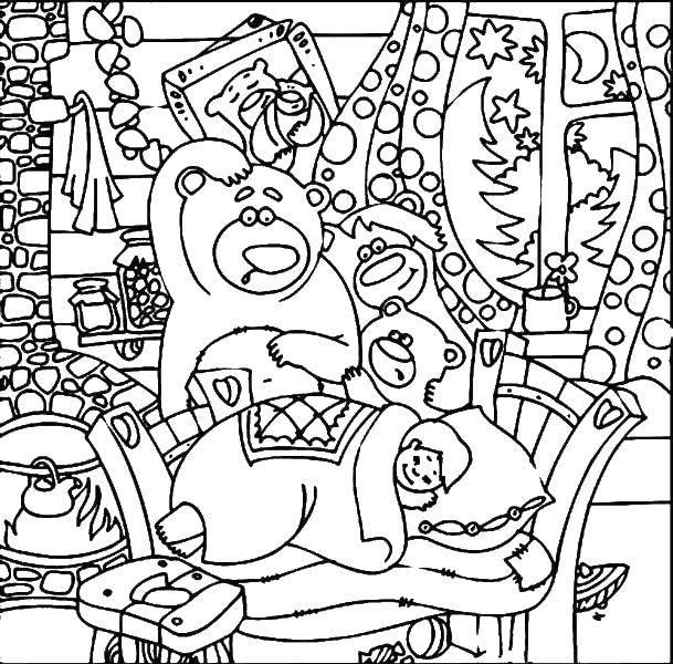 Раскраска три медведя Скачать сердечки, бантик, любовь.  Распечатать ,Сердечки,