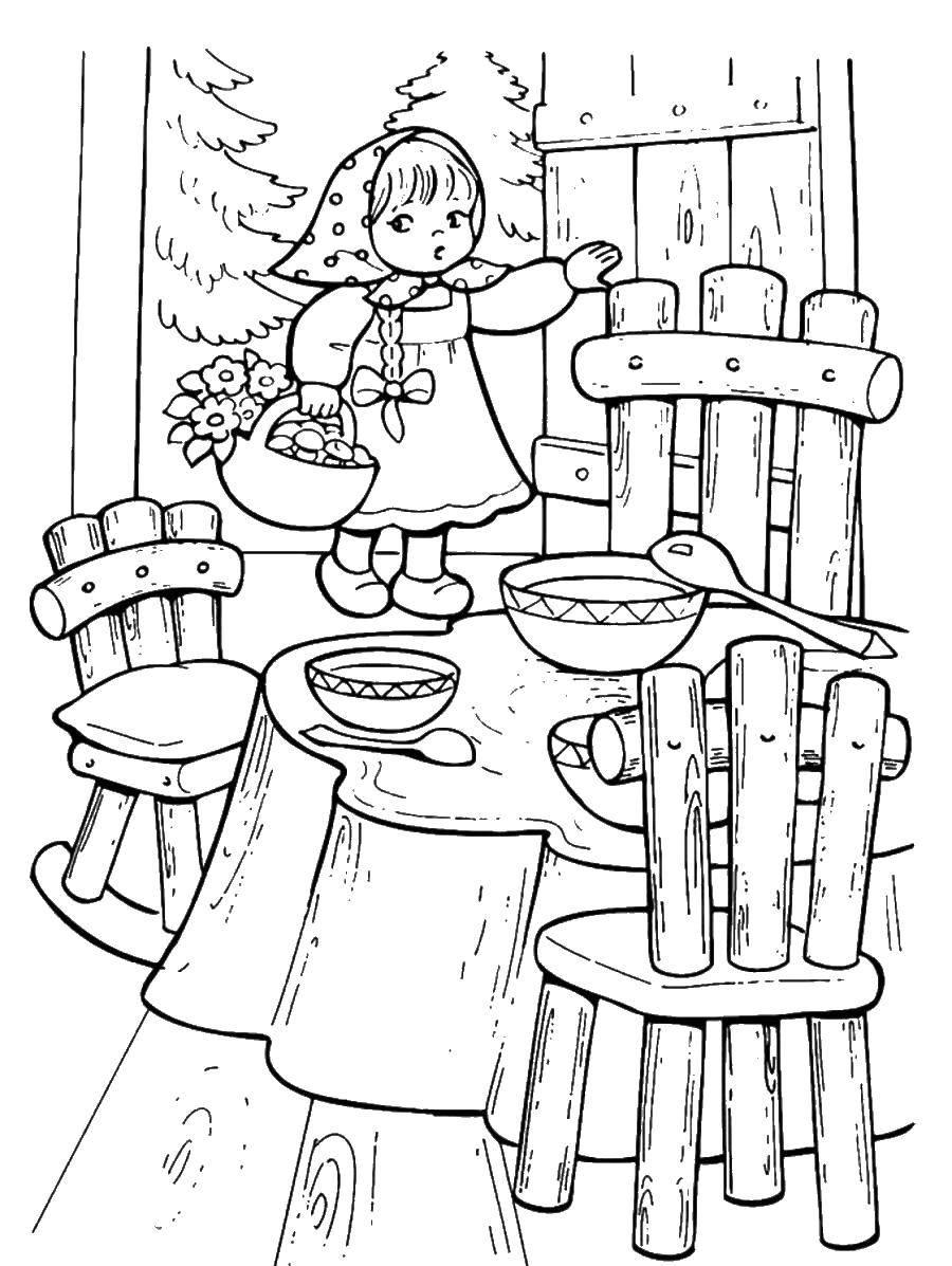 раскраски раскраска девочка зашла в дом три медведя