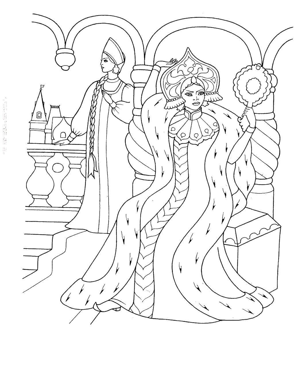 раскраски раскраска царица и царевна у окна сказки пушкина