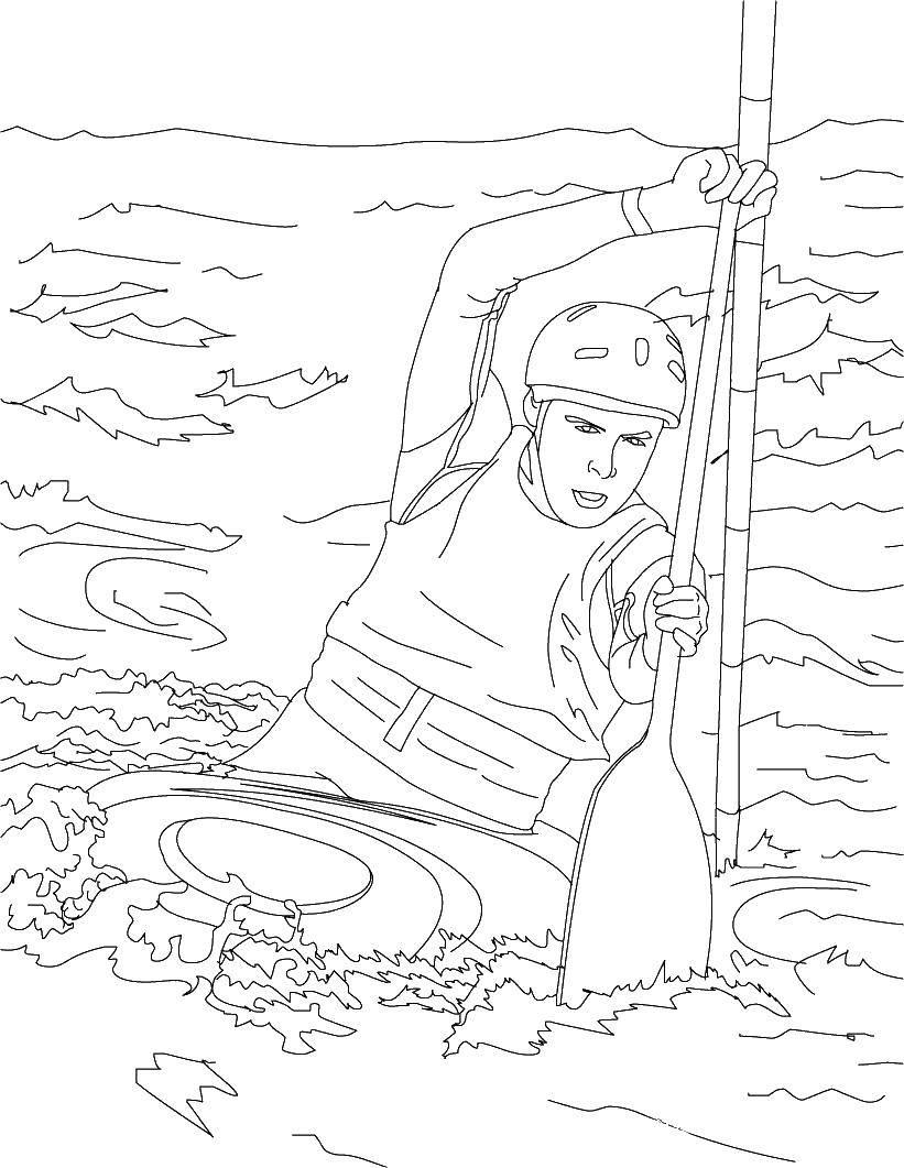 раскраски раскраска спортсмен на байдарке скачать