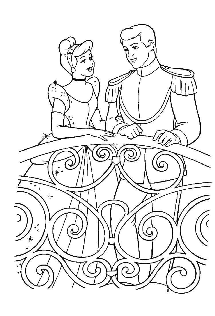Раскраска Золушка и принц Скачать Дисней, Золушка.  Распечатать ,золушка,