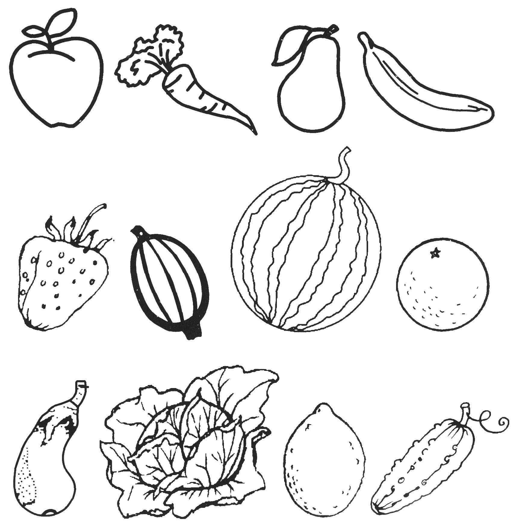Раскраска Фрукты и овощи Скачать фрукты, овощи.  Распечатать ,осень,