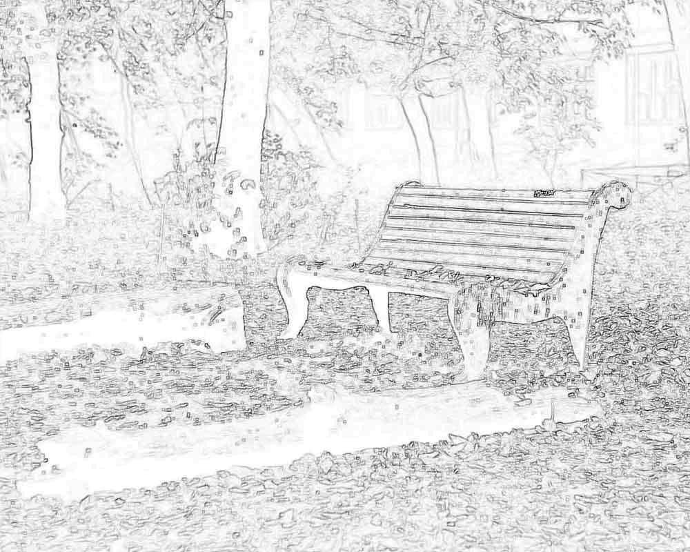 Раскраска Скамейка в парке Скачать скамейка.  Распечатать ,осень,