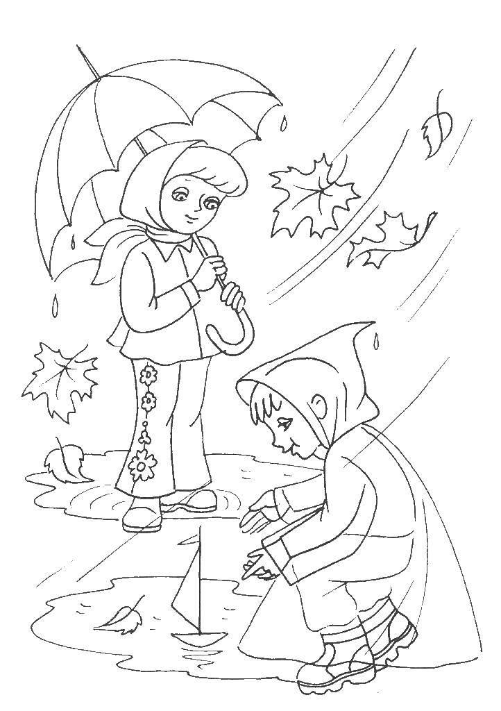 Раскраска дождь Скачать .  Распечатать