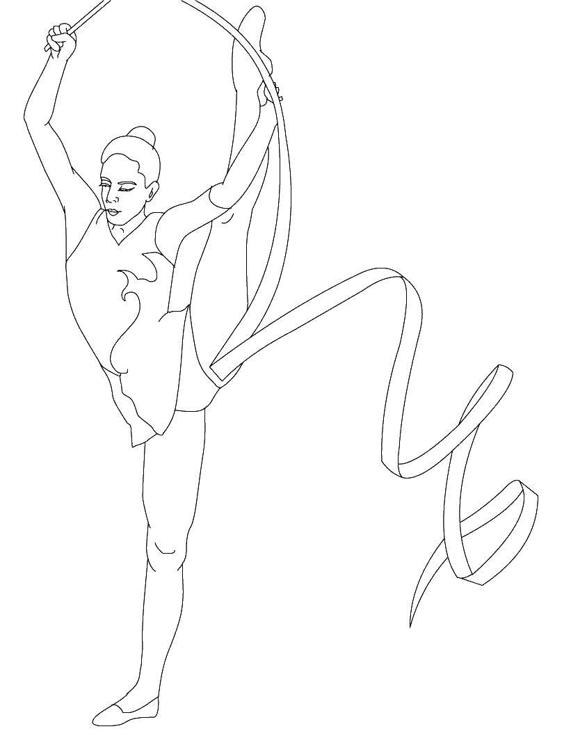 Раскраска Гимнастка Скачать гимнастика.  Распечатать ,спорт,