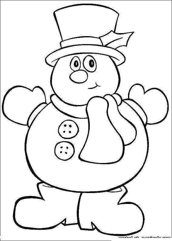 Раскраска Снеговик в шляпе Скачать снеговик, зима.  Распечатать ,новый год,