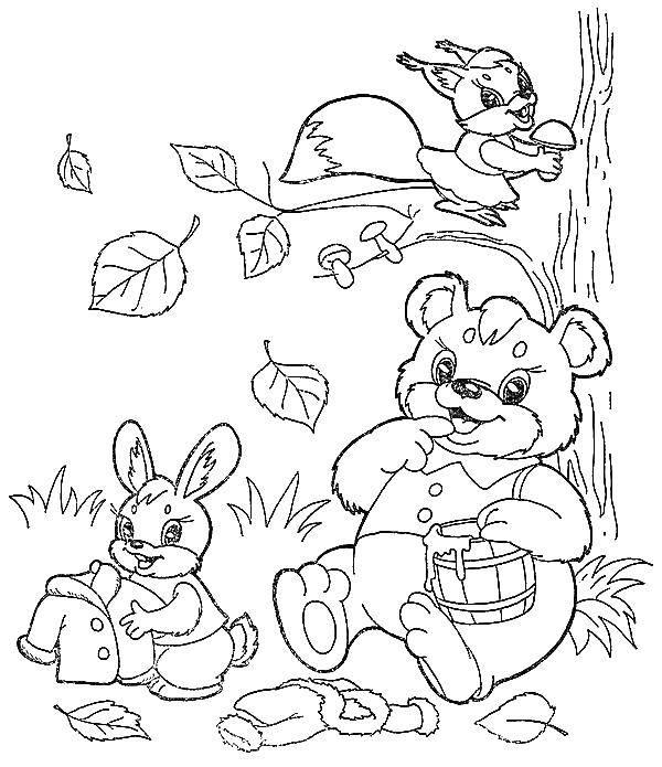 Раскраска Животные готовятся к зиме Скачать животные, грибочек, зима.  Распечатать ,осень,