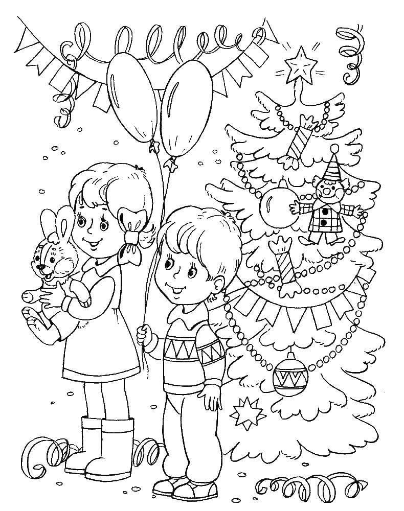 Раскраска Новогодний карнавал Скачать Новый Год, подарки, праздник, карнавал, ёлка.  Распечатать ,новый год,