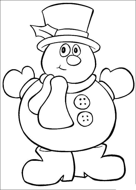 Раскраска снеговик Скачать Дети, игра, природа.  Распечатать ,дети,
