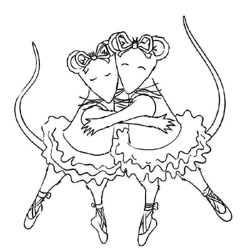 Раскраска Мышата танцуют балет Скачать Балерина, балет, танцы.  Распечатать ,балерина,