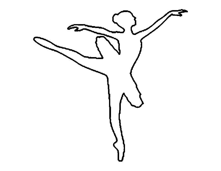 Раскраска Силуэт балерины Скачать ,Балерина, балет, танцы,.  Распечатать