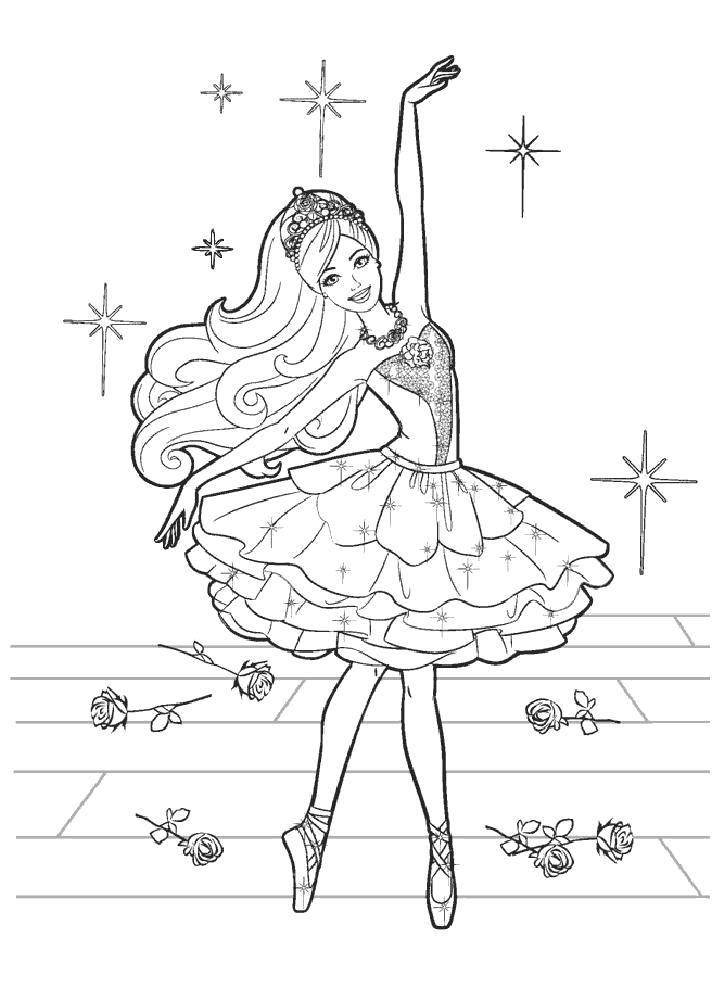 Раскраска Балерина барби Скачать Балерина, балет, танцы.  Распечатать ,балерина,