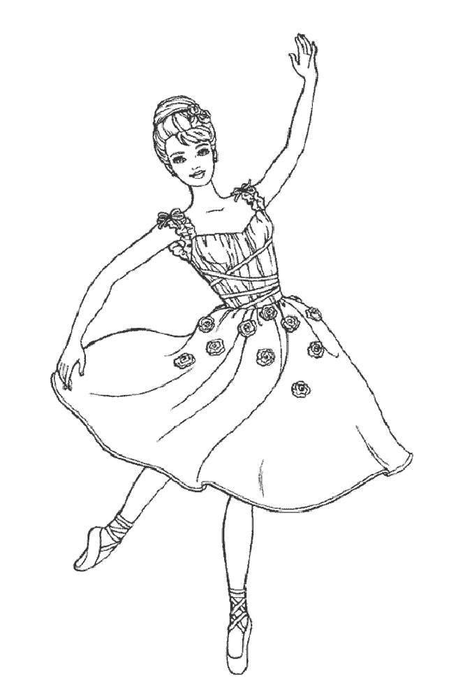 Раскраска балерина Скачать .  Распечатать