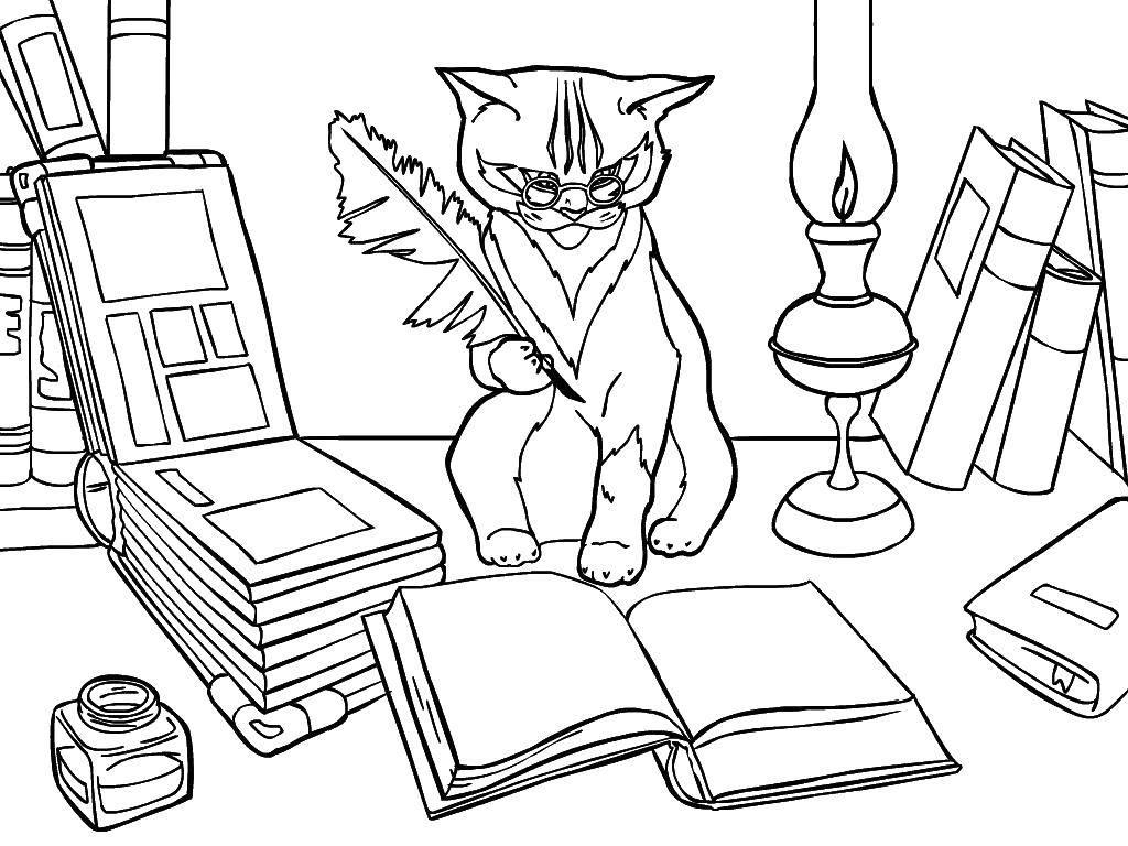 Раскраска Учёный кот Скачать Сказки.  Распечатать ,Сказки,
