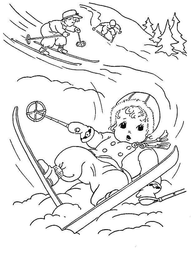 Раскраска Зимний спорт Скачать Спорт, лыжи.  Распечатать ,лыжи,