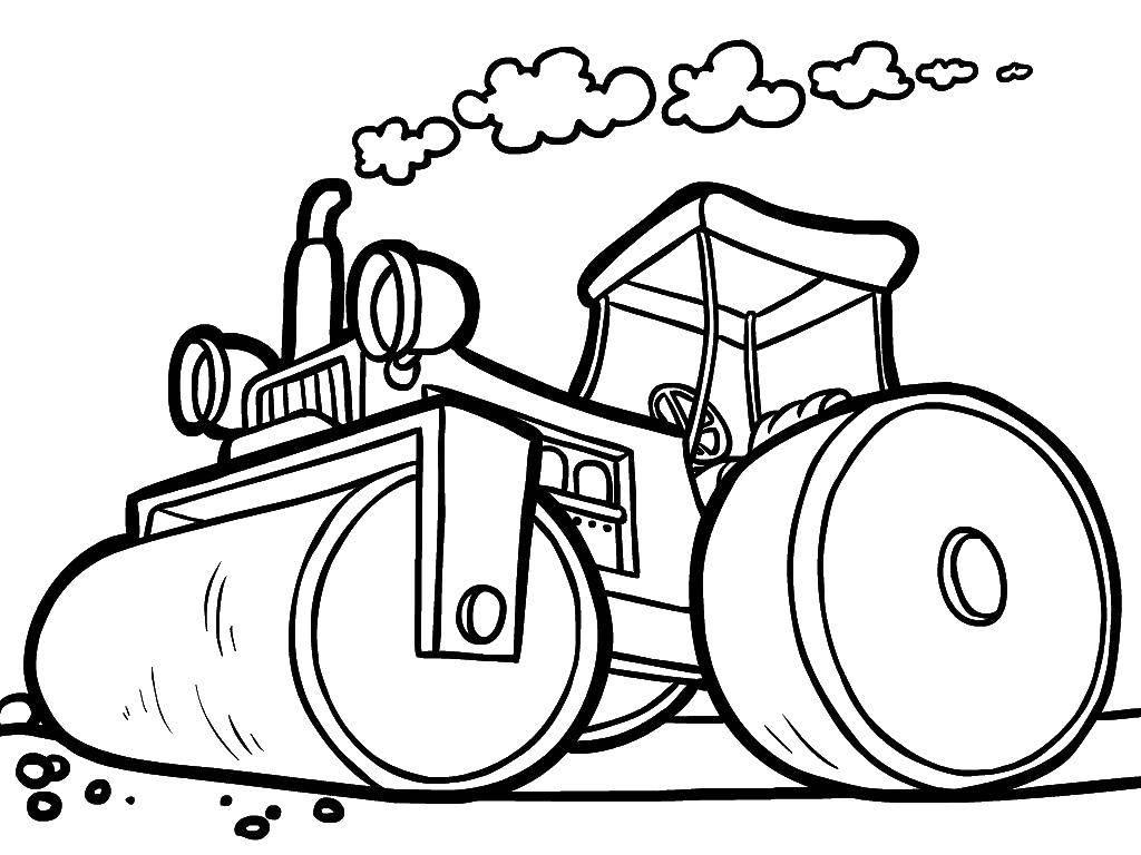 Раскраска транспорт Скачать ,Транспорт, трактор,.  Распечатать