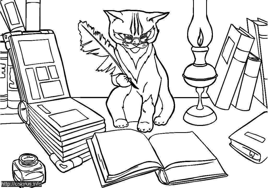 Раскраска Кот учёный Скачать Животные, котёнок.  Распечатать ,Животные,