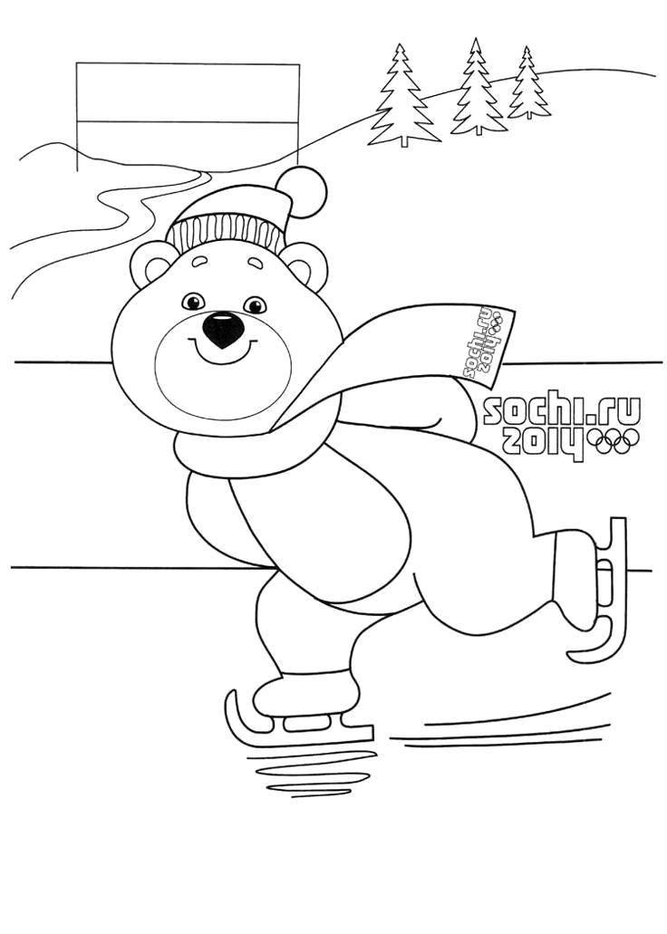 Раскраска Олимпийский мишка Скачать Олимпиада.  Распечатать ,Олимпиада,