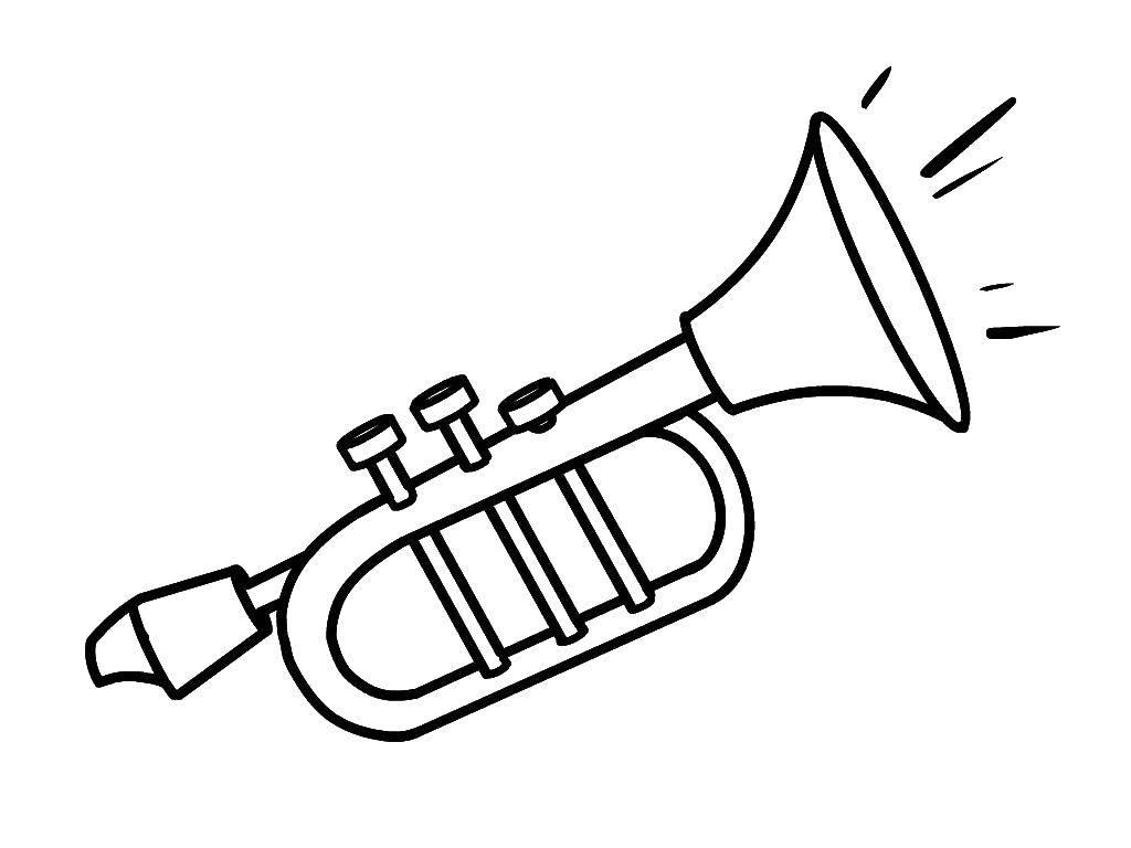 Раскраска Труба Скачать Инструмент, труба.  Распечатать ,Музыкальный инструмент,