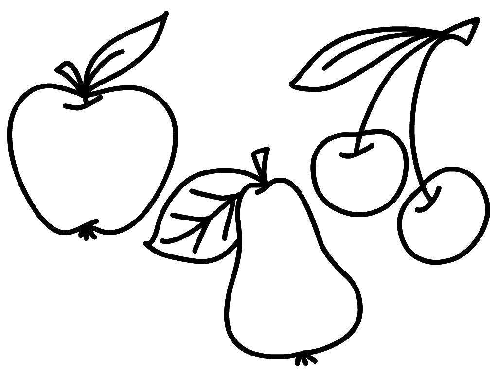 Раскраска Ягоды и фрукты Скачать еда , ягоды, фрукты.  Распечатать ,Еда,
