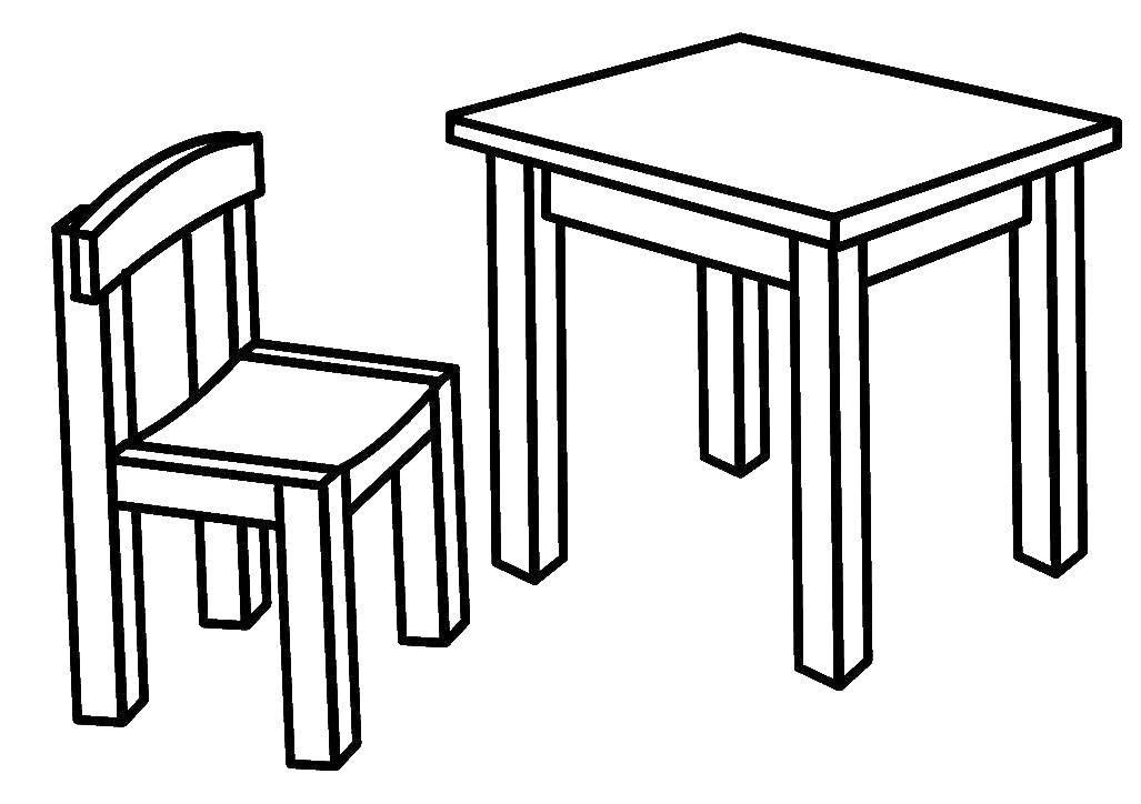 Раскраска Стол и стул Скачать Мебель, стол, стул.  Распечатать ,мебель,