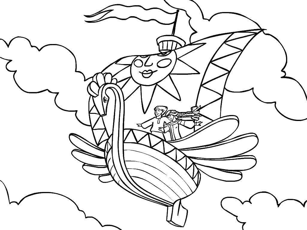 Раскраска Сказки Скачать ,Сказки, Летучий корабль,.  Распечатать