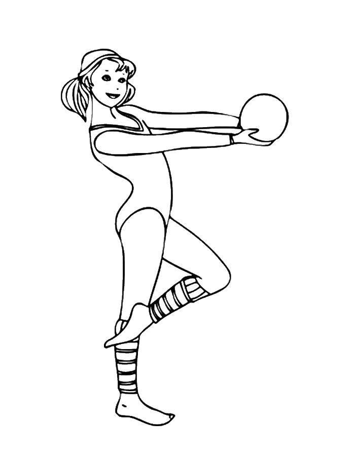 Раскраска Гимнастка с мячом Скачать гимнастика.  Распечатать ,спорт,