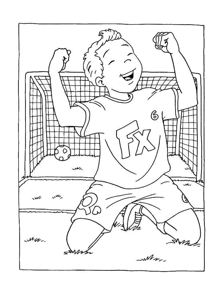 Раскраска Мальчик забил гол Скачать Спорт, гол.  Распечатать ,спорт,